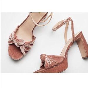 H&M Dusty Rose Velvet Heeled Sandals 39